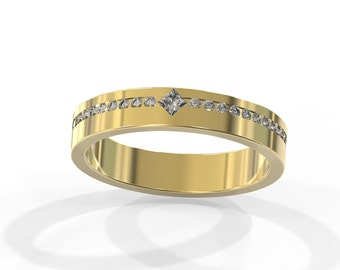14k Gold Wedding Ring set with Diamonds | Handmade solid 18k gold wedding ring set with natural diamonds | Natural Diamond Engagement ring