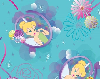 "Disney Fabric - Disney Tinkerbell Petal Perfect Camo 100% cotton 43"" Fabric by the yard,d71"