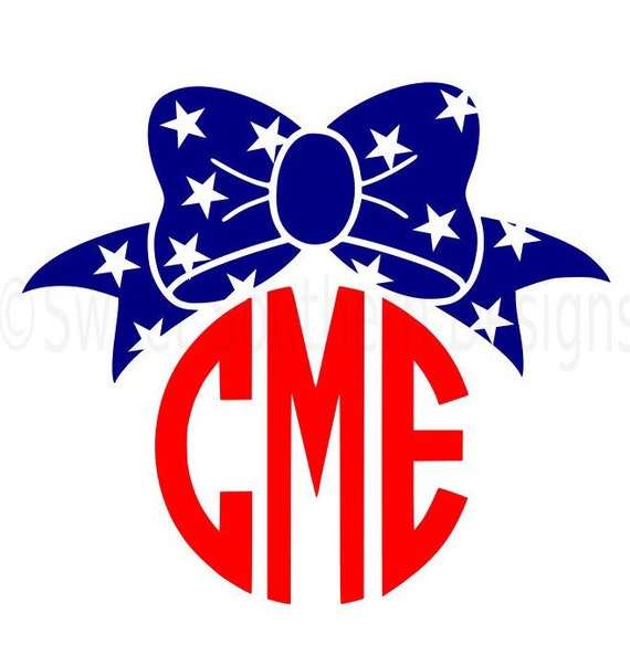 May The 4th Be With You Clip Art: Monogram Bow With Stars Fourth Of July Memorial Day SVG