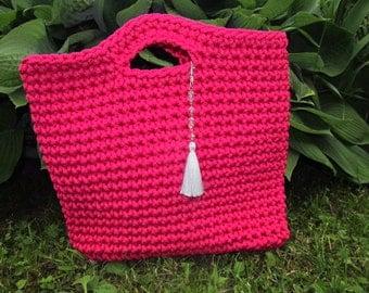 Handbag handmade Handbag, Knitted Bag, Rope Bag, Handmade Bag, Crochet Bag, Mint Bag, Summer Handbag, Gift for wife, Blue Handbag