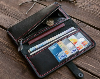 Elegant handmade black purse,  mens wallet, engraved initials, black leather wallet