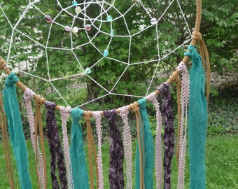 Purple and Teal Recycled Dream Catcher