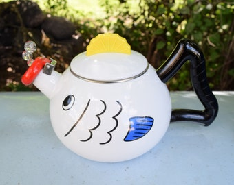 Vintage white Enamel teapot with fish design/ White  Kettle