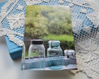 Set of Any 5 Artisan Postcards, Vintage Jars, Spiderweb, Aqua, Greeting Cards, All Occasion Cards, Set of 5 Fine Art Post Cards, Postcards