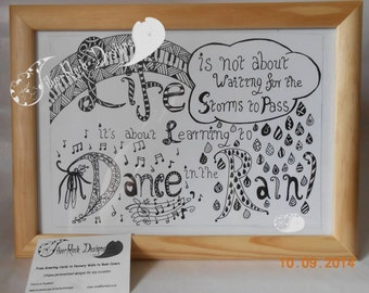 Dance in the Rain, Tangle style hand drawn picture