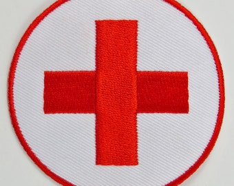 Cross (Red & White) Iron On/ Sew On Cloth Patch Badge Appliqué cybergoth cyber punk goth emo rave first aid nurse doctor medical Size: 6.8cm