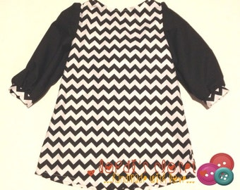 Girls Fall Dress, BG Cricket Dress, Long Sleeved Girls Dress, Chevron Dress - Sizes 18M to Girls 12