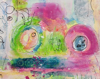 "Acrylic on canvas ""Asteroid B 613"" 20 x 20 cm"