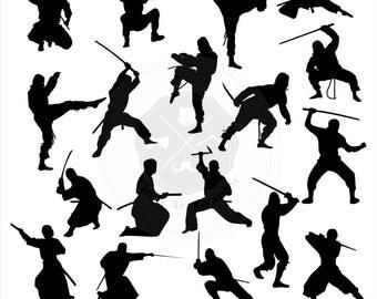 Ninja Silhouettes Clipart,ninja clipart,samurai, japan,silhouettes clipart,digital download