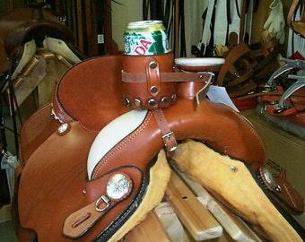 Saddle Beverage Holder- Leather Saddle Beer/Pop Holder - Customized Saddle Accessorie - Saddle Drink Holder