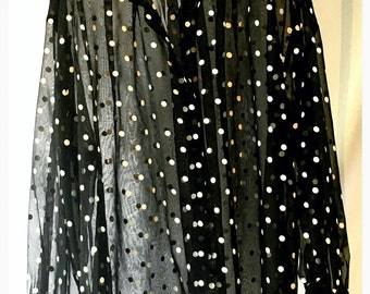 Sheer Black and White Polka Dot Shirt Size 18-20
