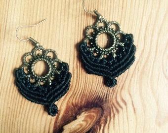macramé earrings black ~ macrame earrings black