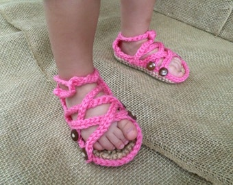 Baby Girl Gladiator Sandals, Crochet Gladiators, Infant Sandals, Crib Shoes