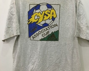 Vintage 90's Adidas CYSA Association Cup 1997 3 Stripes Grey Adult Sport Hip Hop Streetwear Size L #B53