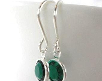 Birthstone Drop Earrings with swarovski, sterling silver swarovski earrings,