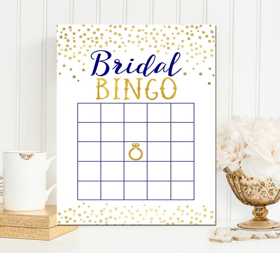 Navy and Gold Bridal Bingo Game - Bridal Bingo - Gold Foil Bridal Bingo - Printable Bridal Shower Bingo Game