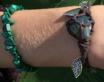 Hemp moss agate bracelet