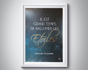 Displays sentence poetic - Apollinaire - customizable - gilding - color-decoration - living room - bedroom