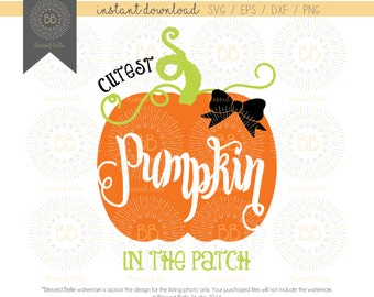 Cutest Pumpkin in the Patch svg, eps, dxf, png file, Silhouette, Cricut