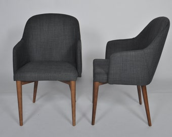 Set of 2 Mid Century Modern Dining Chair Navy Blue Upholstered