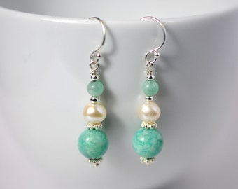 Gemstone earrings with amazonite and freshwater pearls