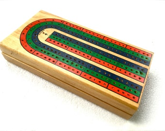 Vintage Cribbage Game, Three Player Cribbage - Traveling Fold-Up Game