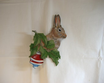 Hand painted wooden rabbit ornament