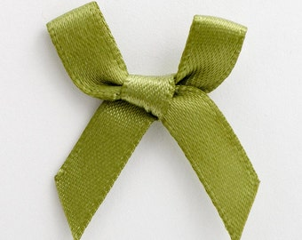 Satin Ribbon Pre Tied 3cm Bows - 100 Pack - Moss Green