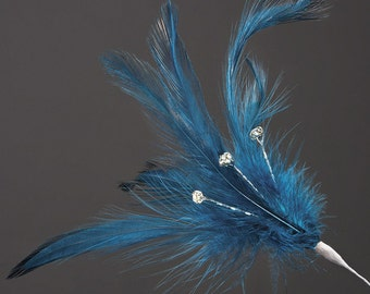 Teal Diamante Feathers - Wired Stem -  3 or 6 Stems - Bouquets, Fascinators, Hats, Cake Decoration