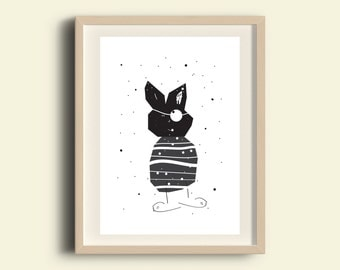 Print digital animal art humor art unique gift funny wall decor illustration funny black and white drawing instant download printable art