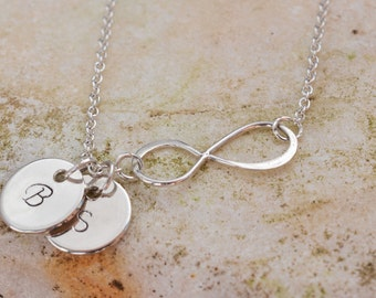 Personalized necklace, Personalized infinity necklace, Initials necklace, custom letters discs, Personalize necklace, Family, Mothers gift