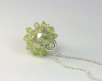 Sea urchins - charm 925 Silver with Peridot