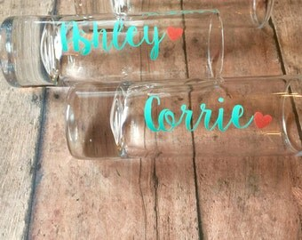 BUY 3 GET 1 FREE: Custom Name Shot Glasses - Personalization Available! - Glitter-Dipping Available! - Birthday - Bachelorette - Party