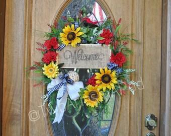Summer Sunflower Burlap Dahlia Wreath