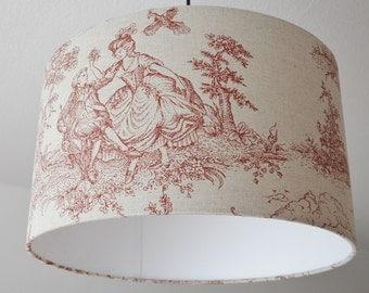 "Ceiling lamp ""toile de Jouy"" (Burgundy)"