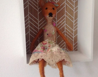 needlefelted fox, one of a kind art doll.