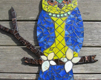 Mosaic Owl - Blue, Yellow and Green