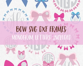 Bows Monogram Frames Circles Set SVG Cut Files  bow monogram svg monogram svg for silhouette svg files for cricut svg files svg high quality