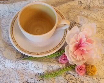 Vintage Franciscan Earthenware Hacienda Gold Coffee Cup & Saucer, 1960s Pottery, Retro