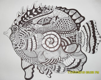 Fish Zantangle Drawing - Wall Art - Home Decor - Gift