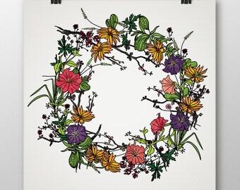 Flower print-Original art-Instant download-Art print-Digital illustration-Digital art-Home decor-Wall decor-Colorful flower bouquet