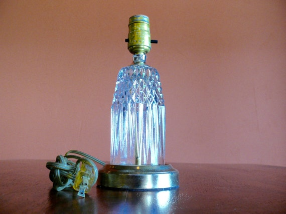 Glass Lamp Bases South Africa: Pressed Clear Glass Diamond Pattern Accent Lamp Brass Base