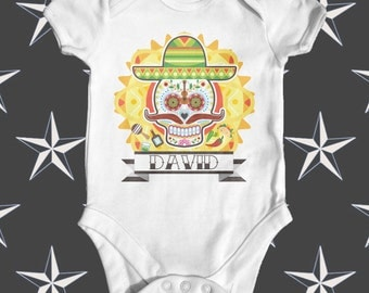 Tattoo Day Of The Dead Custom Baby Bodysuit | Cute Baby Clothes | Funny Baby Bodysuit | Baby Shower Gift | Personalised Baby Bodysuit
