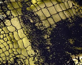 Lime Green and Black Croc Foil Lycra - 2 yard piece