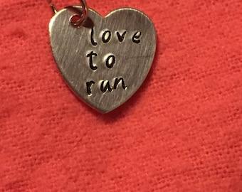 Love to run heart charm