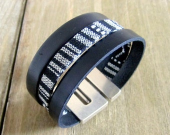 Bracelet men black leather and fabrics linen, magnetic clasp band