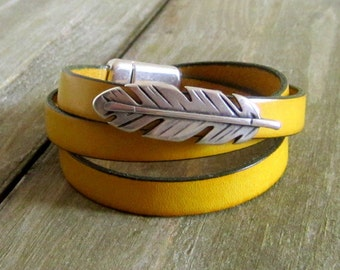 Leather Bracelet yellow mustard, 3 laps wrist loop silver pen, magnetic 10 mm silver plated clasp