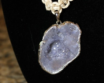 Hemp necklace with periwinkle colored geode charm