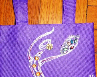 PURPLE mini canvas tote bag with hand-painted flamenco dancer design