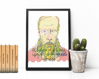 Poster Fyodor Dostoyevsky, writer, picture on the wall